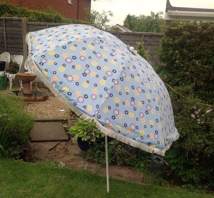 Vintage Garden Parasol 5ft Span Blue,yellow Little Mauve And Deep Blue