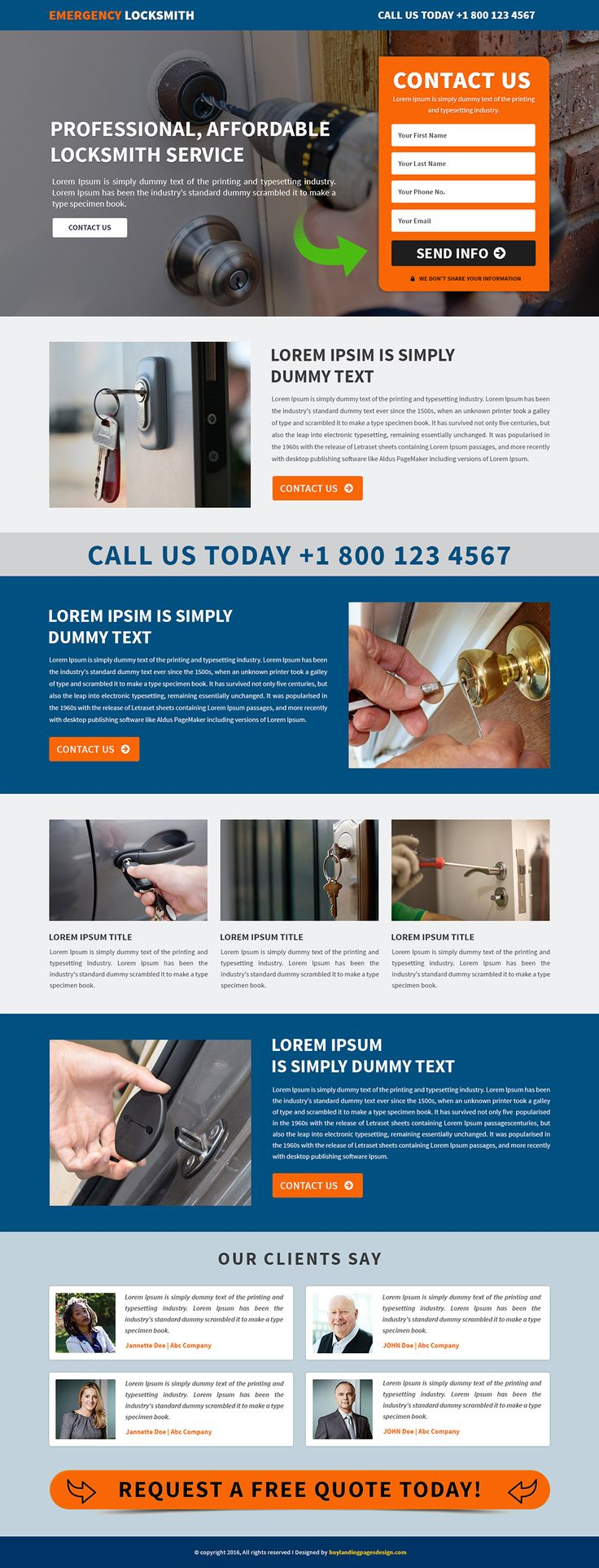 Responsive Emergency Home Locksmith Landing Page Template $29 only BuyNow!