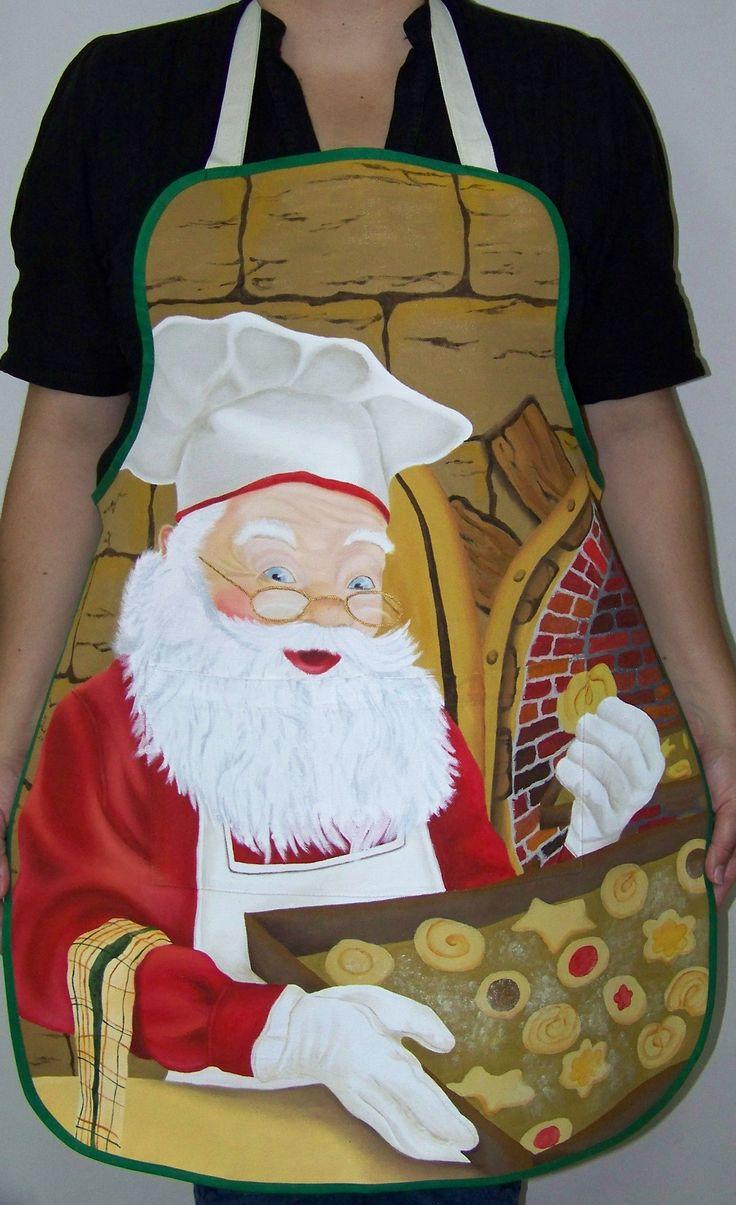 Delantal de navidad Pintado a mano ARTE y MODA CARDONA