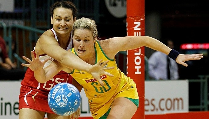 Julie Corletto in action against England in the 2011 Holden Netball Test Series. Netball is primarily a women's sport, similar to basketball.