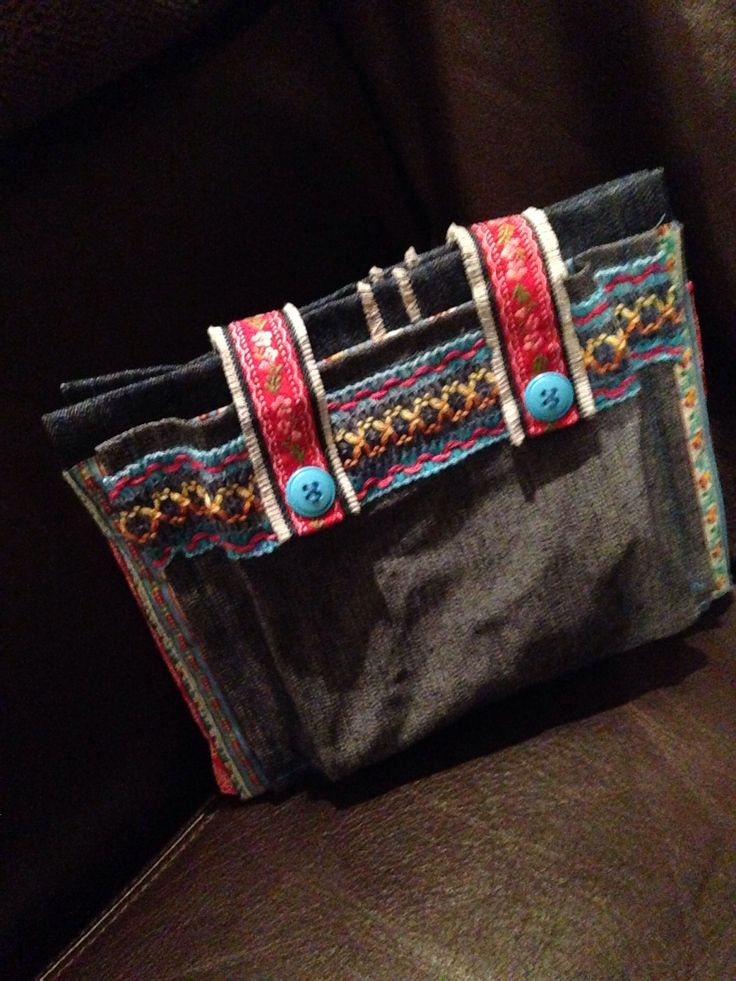 Denim pencil- & notebook bag! Designed and made for Charissa for school