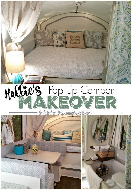 Hollie's Pop Up Camper Makeover - The Pop Up Princess. This fabulous pop up trailer remodel has all the makings of a peaceful family retreat. Loving the calming color scheme and practical storage spaces.