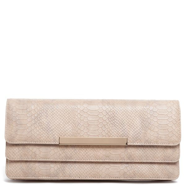Beige clutch bag with snake skin texture on the upper side, gold-tone metallic detail, and black patent finish.