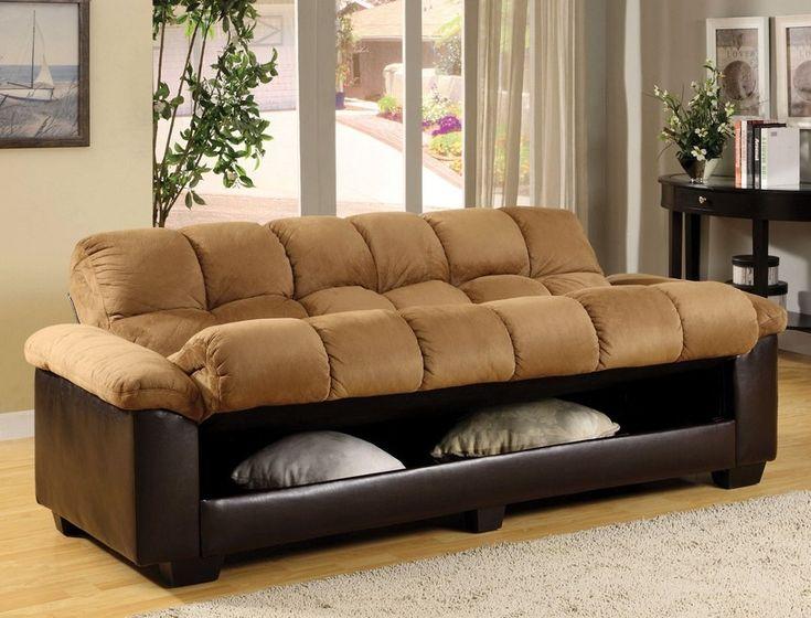 Brantford Camel & Espresso Elephant Microfiber Plush Futon Sofa Bed