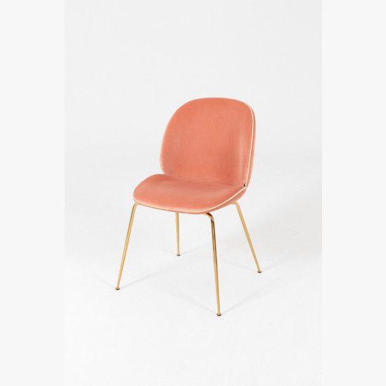 Beetle blush pink velvet chair