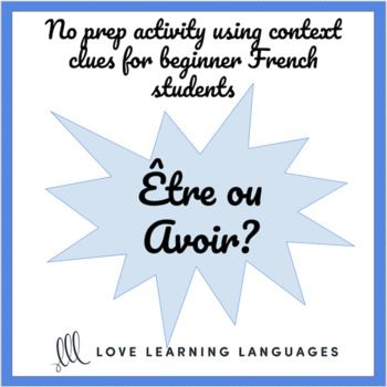 tre avoir French verbs worksheet or quiz - Present tense Quiz or worksheet on the French verbs être and avoir in the present tense. 25 sentences written in the present tense offer multiple choice answers so that students can choose answers based on context.