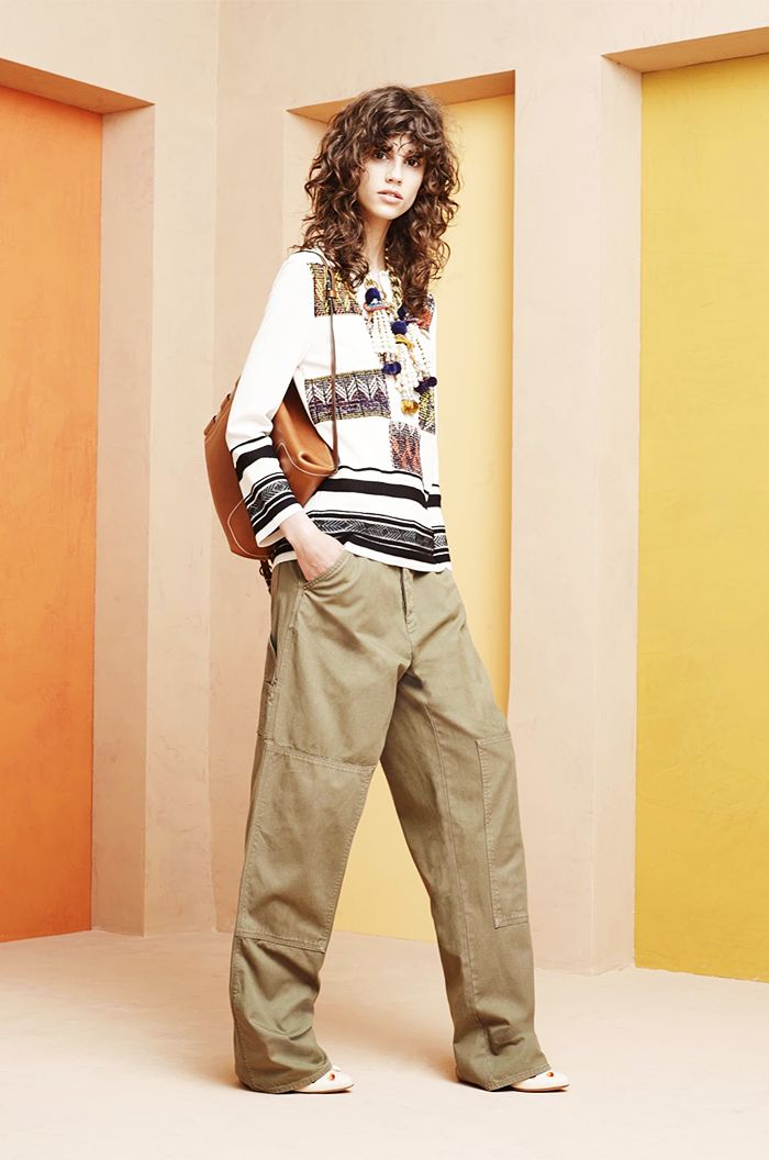 Tory Burch Resort 2016 // Reincorporate a pair of baggy cargo pants into your look by pairing them with an embroidered blouse and pointy-toed heels