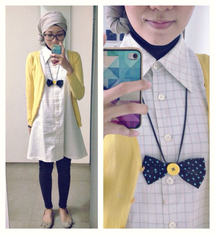 Ootd hijab style : back to school! Shirt, glasses, cardigan, turban, flat shoes, bow tie necklace, jeans #fien