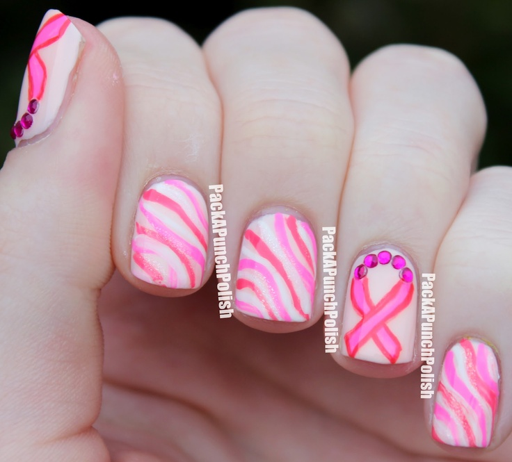 197 best breast cancer awareness nail art images on pinterest a pink breast ribbon nail art design in honor of breast cancer awareness month a video tutorial can easily help you recreate this design prinsesfo Gallery