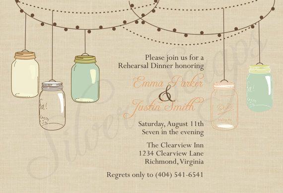 Vintage suspendus dîner de répétition personnalisée pour le pots Mason, fiançailles, mariage, mariage, Baby Shower Invitation - Peach Teal G...