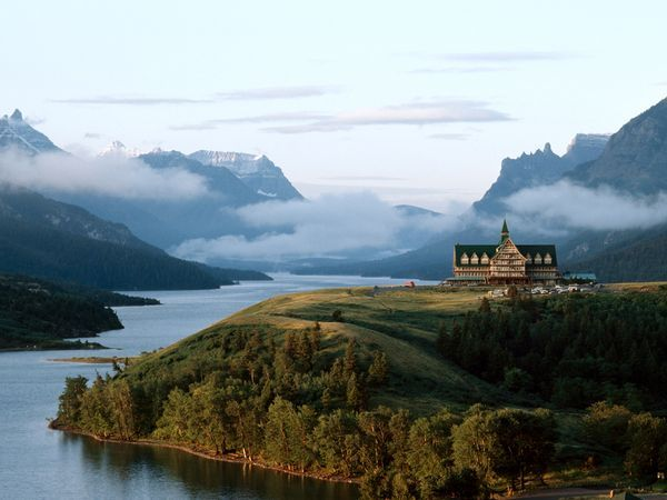 The Prince of Wales Hotel overlooks Waterton Lake, Alberta