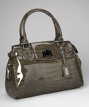 Take a look at this Dark Gray Reptile Patent Tote by David Jones on #zulily today!