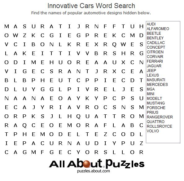 Print Out These Fun Word Search Puzzles Cars Popular