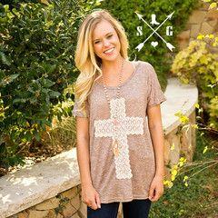 Crochet Lace Cross On Brown Tunic - Keffeler Kreations | HilltopBoutique.com