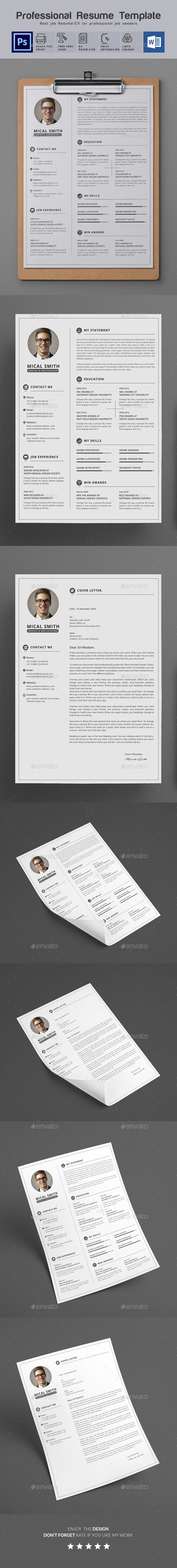 Resume Template PSD MS Word 524 best