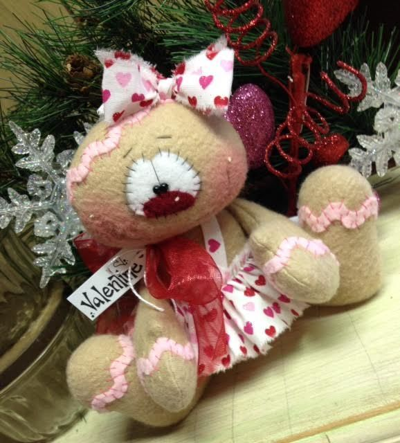 """Primitive Raggedy HC Valentines Day Doll Gingerbread Snowman Snowflake 6"""" Hearts #IsntThatCute #Valentines"""