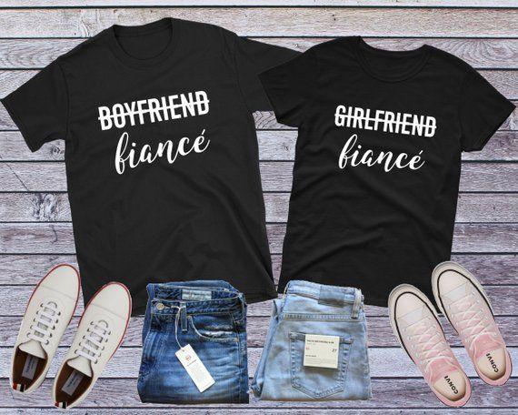 ef690cee Fiance Couples Shirts, Girlfriend Fiance, Boyfriend Fiance, Engagement Shirt,  Fiance Gift, Engaged Shirt, Wedding Shirt, Matching Couple Tee