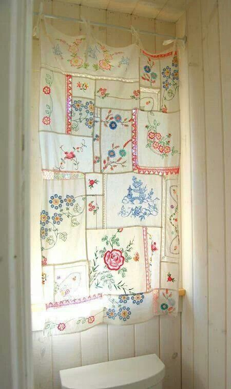Curtain of vintage hankies - I wonder if I could do this with all my grandmas…