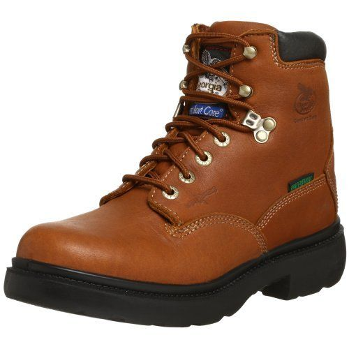 "Georgia Boot Men's Renegade 6"" Work Boot Georgia Boot. $69.99. leather. Rubber sole. Padded collar and moisture wicking lining. Waterproof SPR barnyard acid resistant leather"