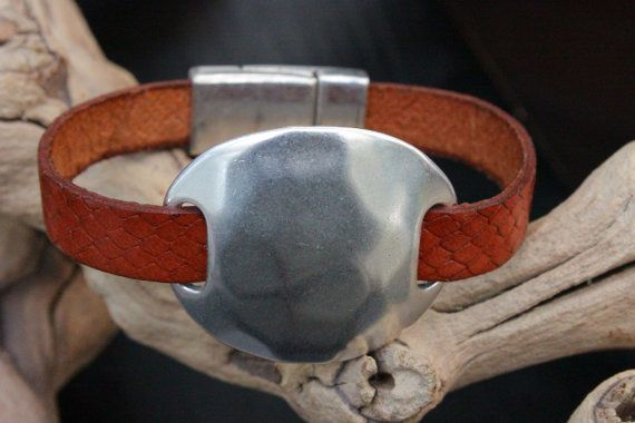 Snake Embossed Leather Bracelet Hammered by PepperPotLeatherShop, $39.99