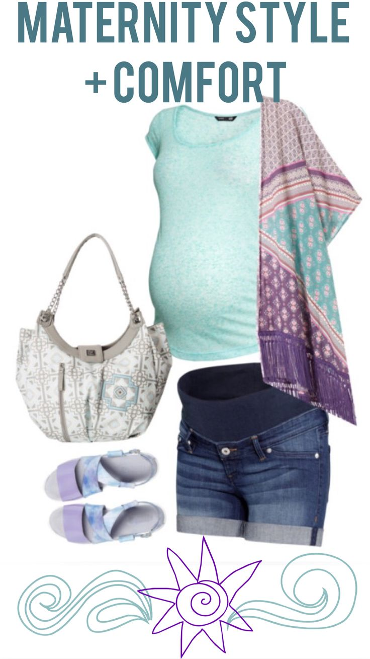 Our favorite summer maternity outfit. Kimonos, shorts, and comfy sandals! The cute bag can be used as a diaper bag! #maternity #kimono #pregnancy