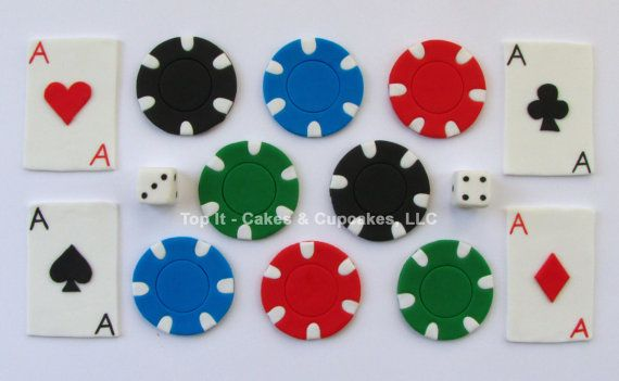 Fondant Cupcake Toppers Cards and Poker Chips by TopItCupcakes, $18.99
