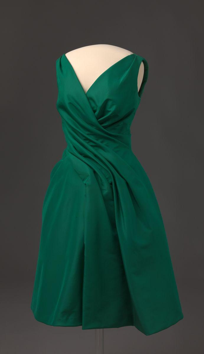 Emerald green silk dress, 1957