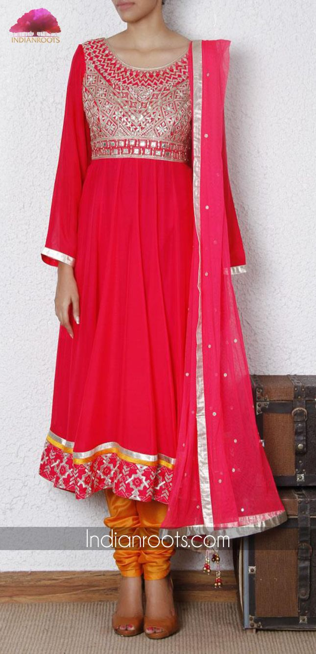 Pink pure chiffon anarkali set featuring gota patti embroidery by Anita Dongre