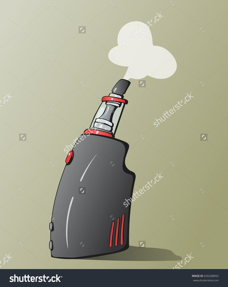 Hand-drawn cartoon vector illustration of the vaping device