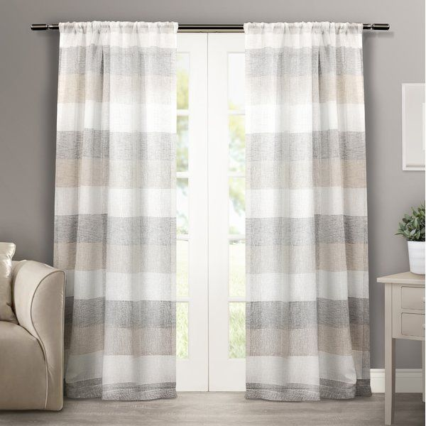 The linen look Striped Sheer Rod Pocket Curtain Panels are light and airy, providing a smooth and rich look to any room. The neutral color coordinated wide horizontal stripes will add a simple, classic look and feel to any room in your home, apartment, office, business and more. These panels allow just enough outdoor light to filter through, while keeping heavy sun glares out. The drapery is constructed with a sewn in rod pocket, fitting the curtain rod of your choice. Impress your friends…
