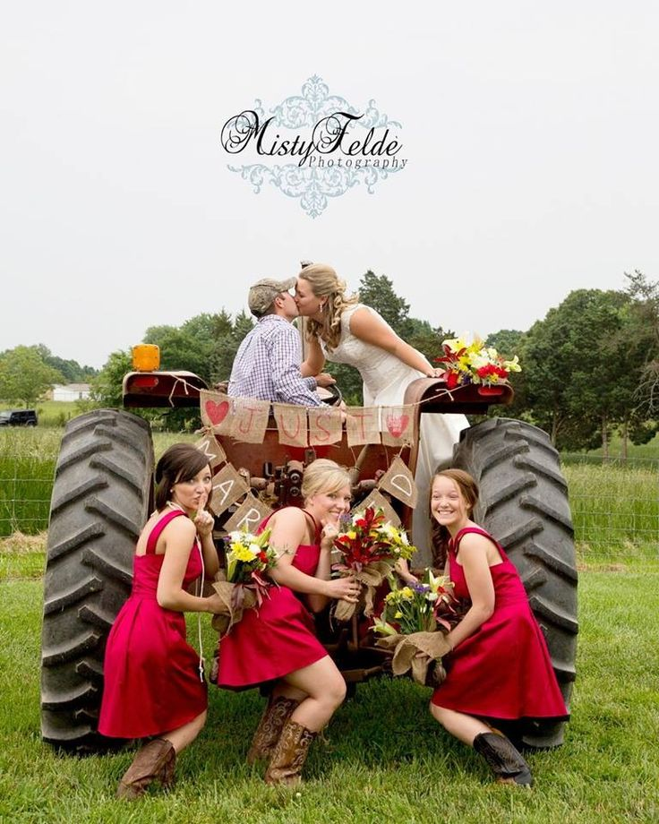 Country wedding ... might as well embrace my destiny and throw in some boots and a tractor! :-O...He is WICKED on up there on his tractor! Dustin that is...