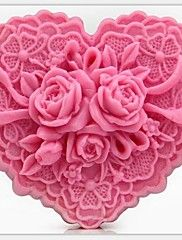 σε σχήμα καρδιάς λουλούδια εργαλεία DIY κέικ φοντάν σοκολάτας διακόσμηση κέικ μούχλα σιλικόνης, l8.5cm * w7.6cm * h4cm