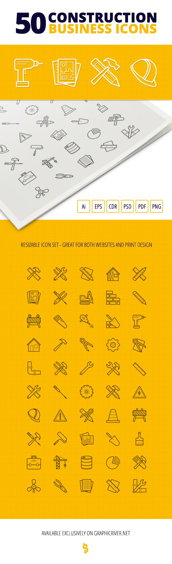 50 Construction Business Icon Set on Behance