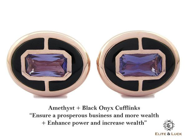"""Amethyst + Black Onyx Sterling Silver Cufflinks, Rose Gold plated, Prestige Model """"Ensure a prosperous business and more wealth + Enhance power and increase wealth"""" *** Combine 2 Gemstone Powers to double your LUCK ***"""