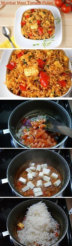 Mumbai Mast Tomato Pulao - A wonderful Mumbai street food styled rice made with paneer (cottage cheese) and veggies and loads of flavor. Vegans can use tofu instead of paneer.
