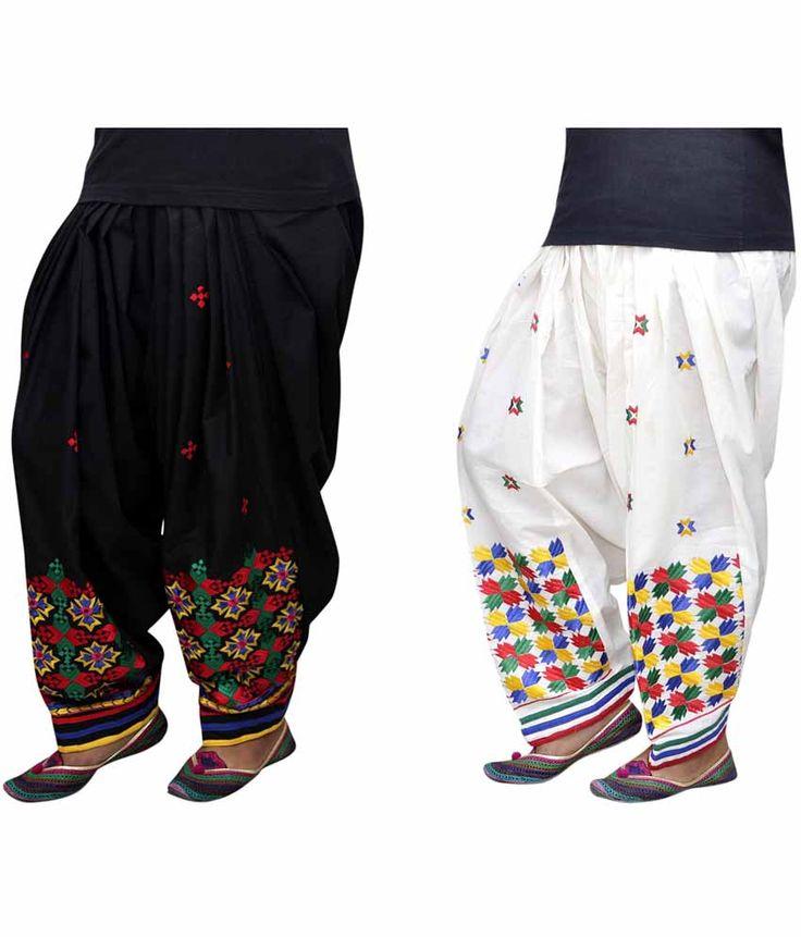 Sajja Black And OffWhite Phulkari Embroidered Cotton Patiala Salwar - http://weddingcollections.co.in/product/sajja-black-offwhite-phulkari-embroidered-cotton-patiala-salwar/