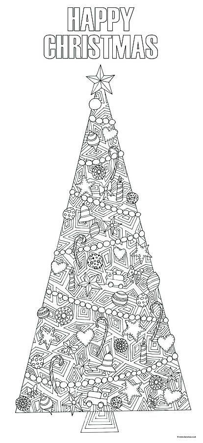 Colour in christmas tree illustration: