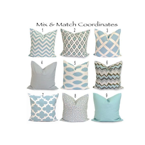Blue Pillows.ALL SIZES.Decorative Pillow Covers.Blue Pillows.Blue Throw Pillows.Blue.Flower.Ikat.ZigZag.Housewares.Solid.Gray.Blue