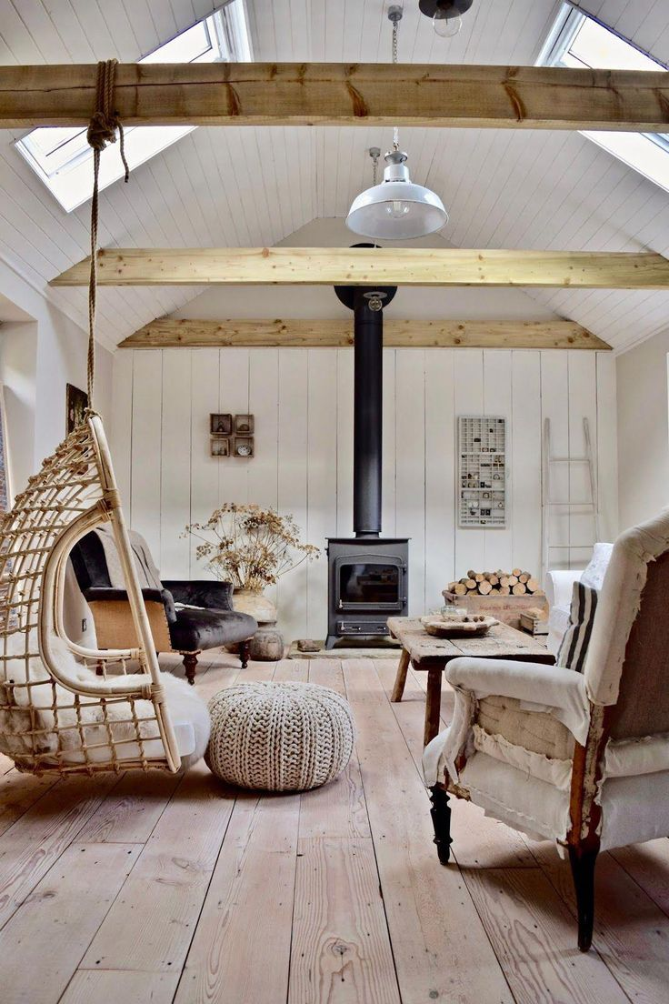 Rattan hanging chair, wood burning stove, antique …