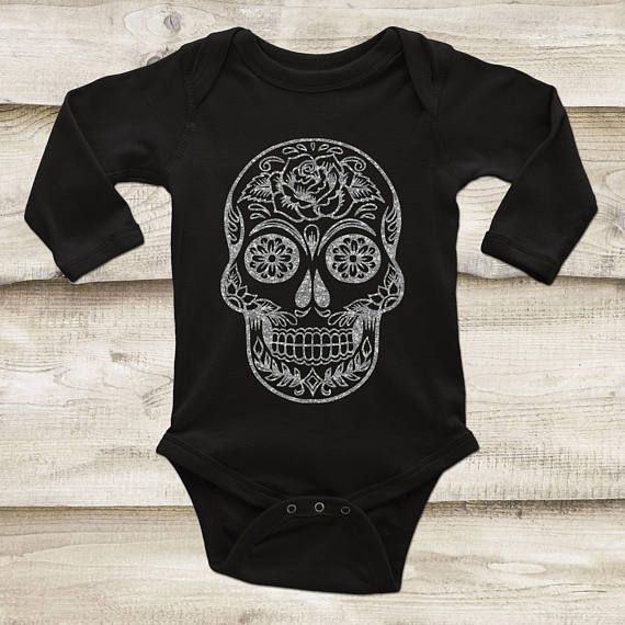 Sugar Skull Baby Outfit Silver Glitter Skull Rose Gold Skull Gold Skull Skull Shirt for Baby Glitter Skull Top Day of the Dead Outfit by GypsyJunkClothing