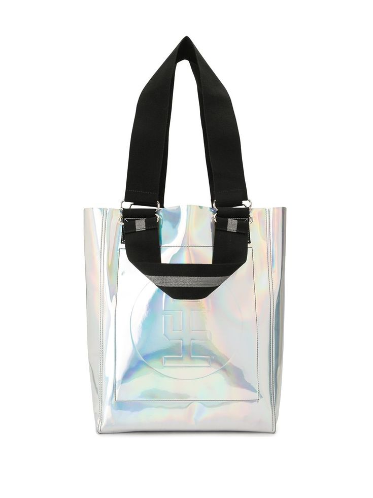 Silver iridescent tote bag from Honey Fucking Dijon featuring metallic effect, reflective effect, embossed logo to the front, open top, flat top handles and two shoulder straps. Embossed Logo, Shoulder Straps, World Of Fashion, Iridescent, Honey, Women Wear, Metallic, Tote Bag, Flat