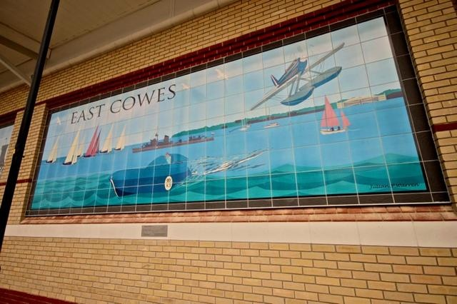 Ceramic murals at the Waitrose store Near the Red funnel ferry East Cowes Made by Edinburgh Ceramics