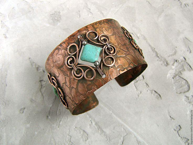 Copper bracelet / Купить Браслет медный с бирюзовым магнезитом. - бирюзовый, браслет, Браслет ручной работы, браслет с камнями