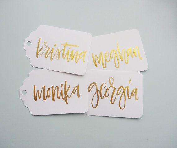 Gold Modern Calligraphy Tags, Brush Lettered Wedding or Party Gift Tags, Personalized Handmade Gift Tags