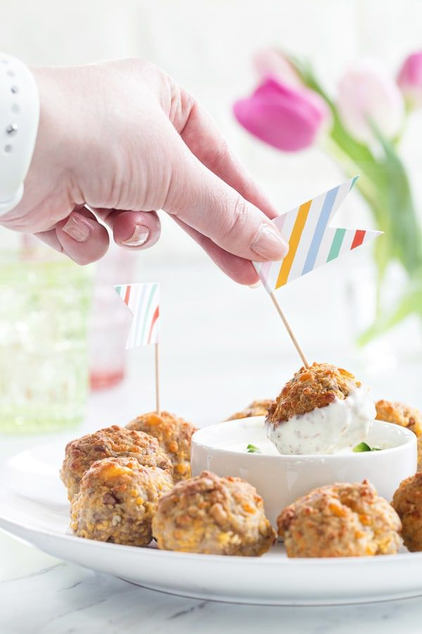 Sausage Cheese Balls are a brunch classic. They pair perfectly with a cool ranch dip!