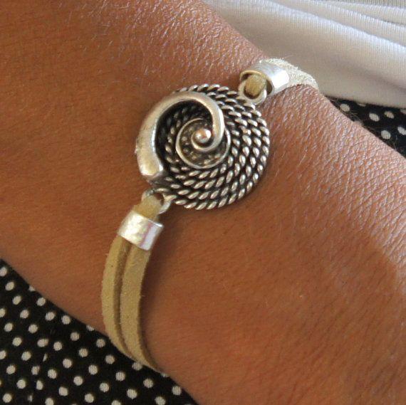 Suede Bracelet Silver suede bracelet Beige suede by CharmByIA--CeCe Archetypical symbol