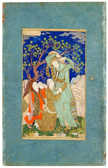 Lovers Observed by a Youth Leaf from the Read Persian Album. Persia, ca.. 1630, by Muḥammad Yūsuf al-Ḥusainī. 378 x 241 mm ; MS M.386.15. The Morgan Library & Museum