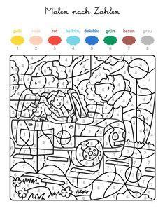 ausmalbild malen nach zahlen: mann und hund im auto ausmalen kostenlos ausdrucken | malen nach