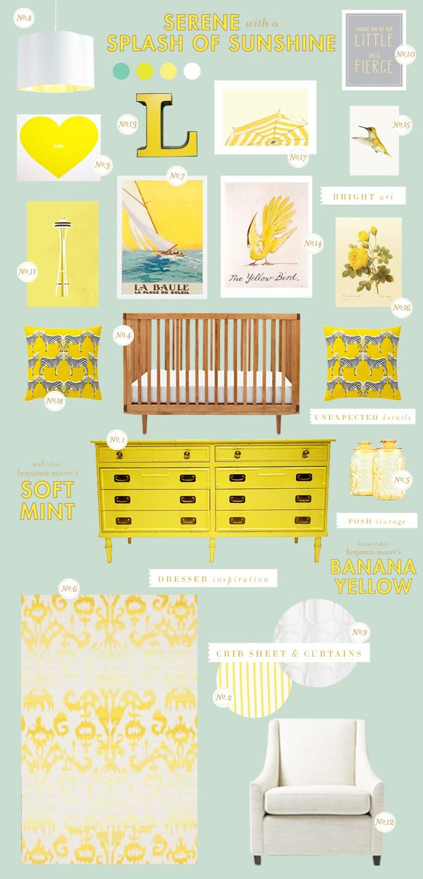 yellow and mint baby nursery inspiration board    Color inspiration for the living room. Pale walls with my favorite color yellow as accents, with bright white to keep it crisp.