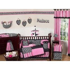 Pink and black cheetah print crib bedding set kids room set up pinterest cheetah print - Pink cheetah bed set ...